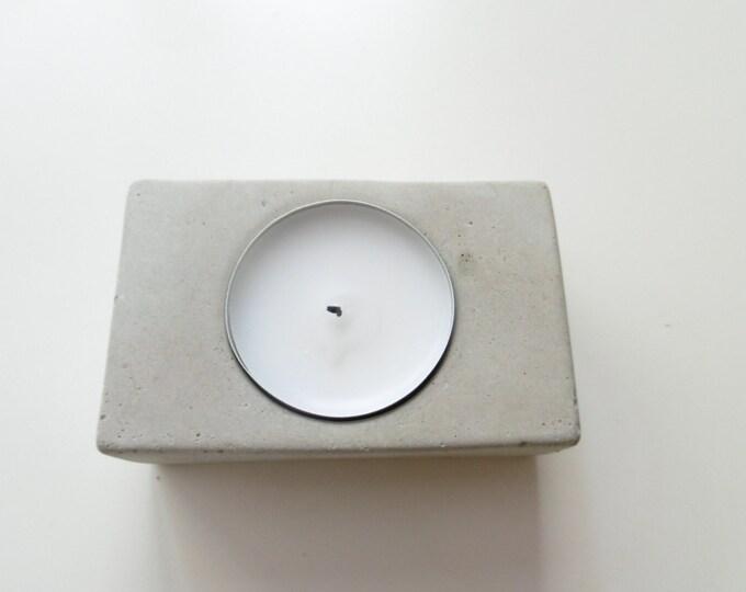 Rectangle - photophore en béton gris