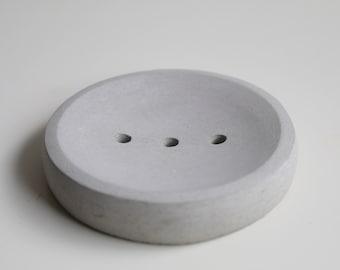 Porte-savon rond en béton gris