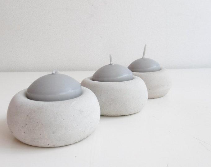 Trois photophores ronds - béton gris