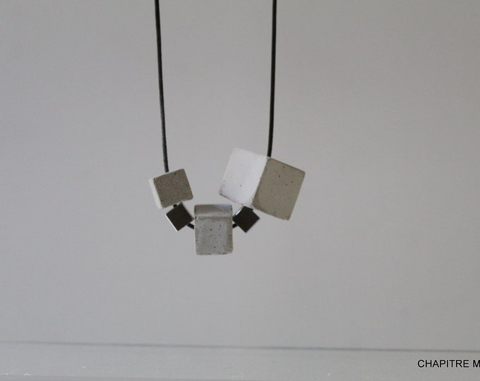 Cubes- Contemporary grey concrete necklace