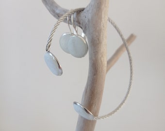 Almond green concrete adornment - Bracelet and earrings