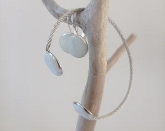 Box bijoux - Parure en béton vert amande - Bracelet et boucles d'oreilles
