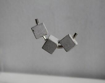 Collier cubes béton et perles tubes  - Concrete necklace