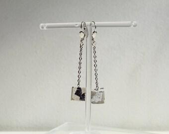 Boucles d'oreilles pendantes, en béton gris, pointé d'argent