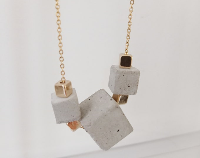 Grey concrete necklace on stainless steel chain