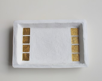 White concrete tray and gold glass
