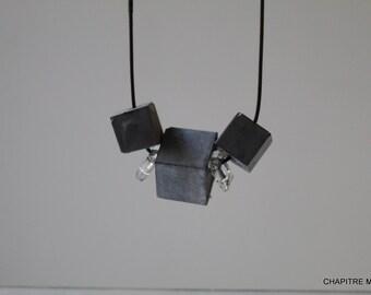 Cubes - Contemporary black concrete necklace