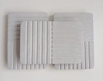 Porte-savon rectangulaire en béton gris