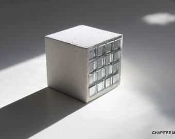 Pavé - Béton gris et carrés miroir - Presse papier, Serre-livres, support bijoux