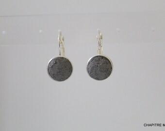 Boucles d'oreilles argent et béton anthracite