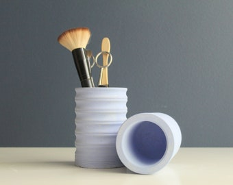 Blue concrete corrugated pot