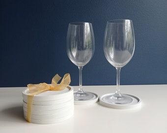 Set de six sous verre en béton blanc