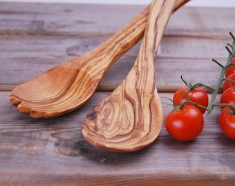 Salad server in olive wood
