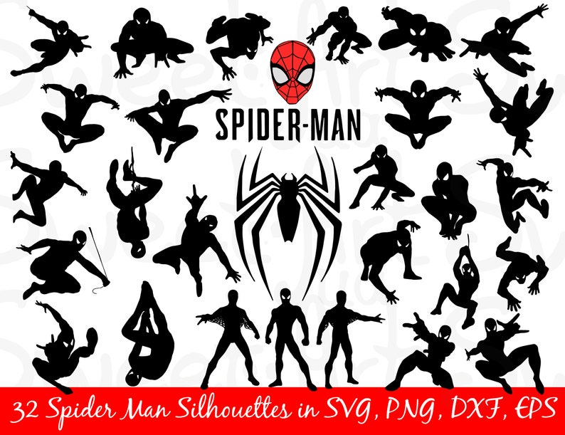 972f66cf91a5d Spider Man 30 svg Bundle Spiderman Silhouette Marvel svg