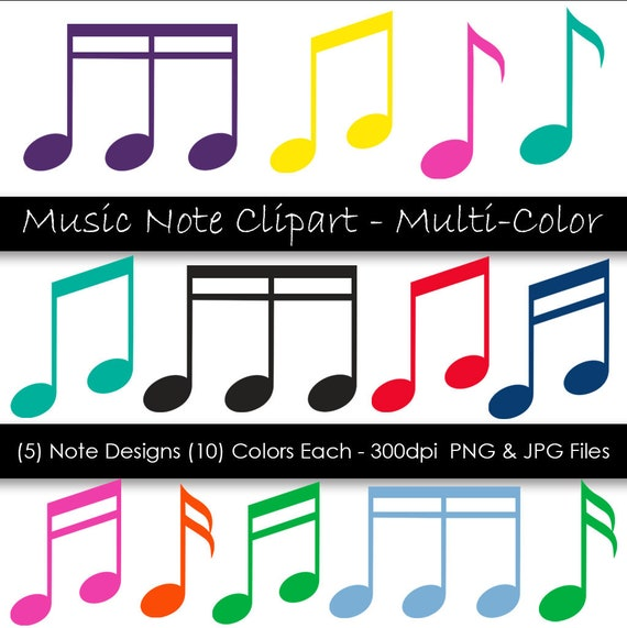 Music Note Clipart Colorful Music Notes Music Symbols 50 Etsy