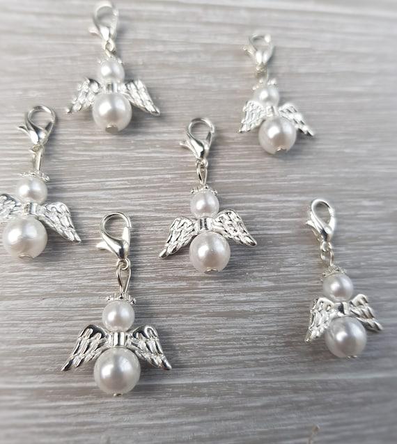 Schutzengel 25 Stück mit FLÜGEL weiß 3,2cm Perlen Engel Hochzeit Taufe Anhänger