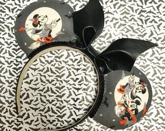 Witch Minnie and Vampire Mickey Bat Inspired Disney Halloween Ears / Mickey Bat Bow ears