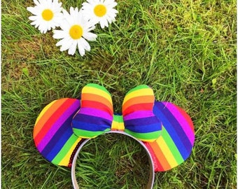 Rainbow Connection / Rainbow Striped Disney Inspired / Mickey / Pride Ears