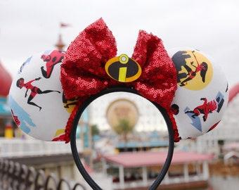 Incredibles Inspired Mickey / Minnie / Disney Ears / Incredicoaster / Pixar Pier Ears Retro Super Hero Ears