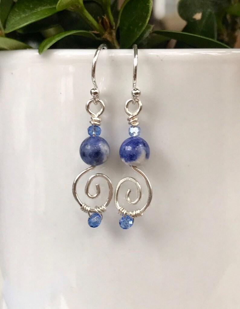Sterling Silver Blue Sodalite Spiral Dangle Earrings Dainty Minimalist Blue Drop Earrings