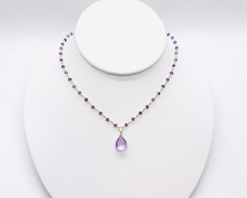 Sterling Silver Amethyst necklace Elegant Pink Amethyst gemstone necklace