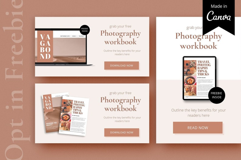Opt in freebie buttons  Opt-in template  Canva template  Pinterest  template  Workbook template  Ebook template  Lead magnet