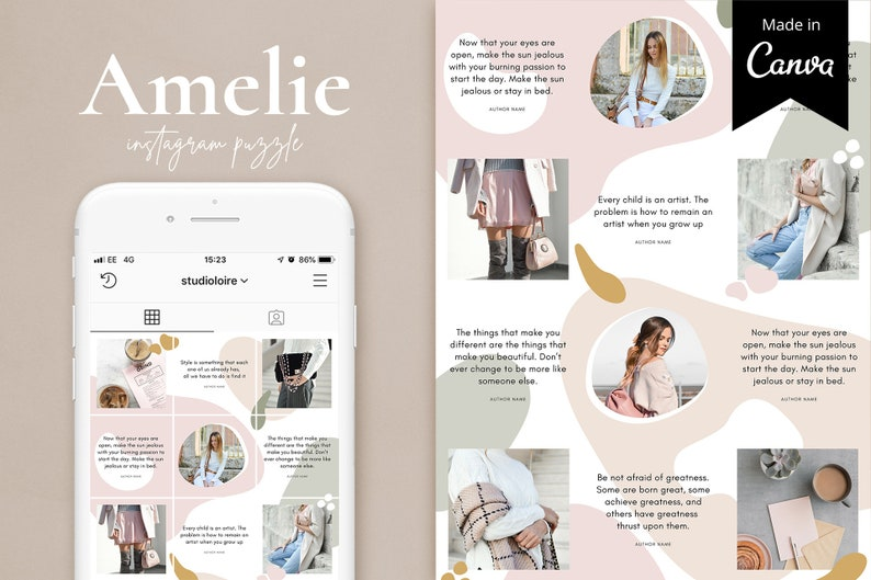 Instagram template  Canva template  Moodboard template  Instagram collage   Blogger template  Canva Instagram puzzle  Instagram grid