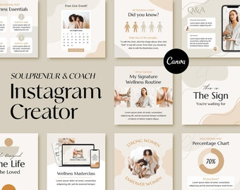 150 Instagram templates for Health and Wellness, Bohemian branding Instagram posts, Engagement boost pack for small business, Canva template