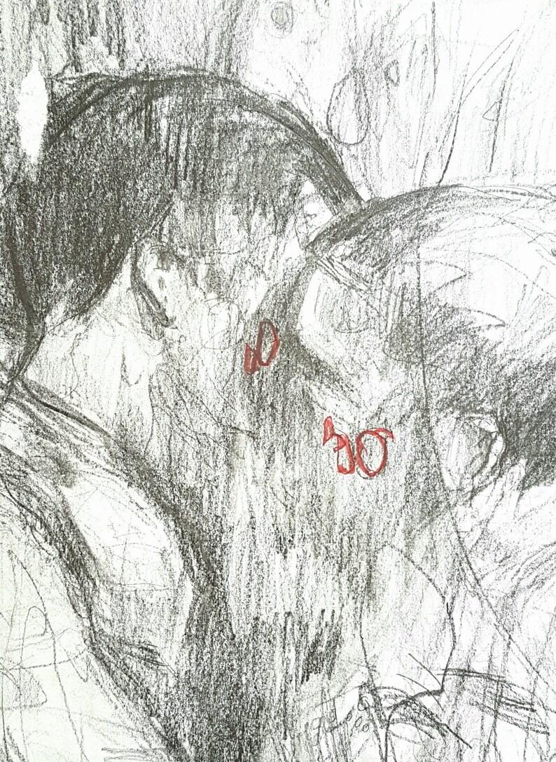 Two Boys Kissing  Intimacy Original Artwork