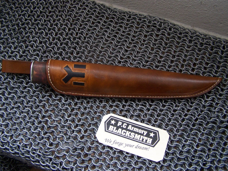 Wood Handle with Leather Sheath Hand forged blade for hunting Custom Butcher knife handmade Man gift
