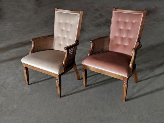 Peachy Antique Morganton Chairs Pink White Chair Wicker Cane Mid Century Modern Furniture Theyellowbook Wood Chair Design Ideas Theyellowbookinfo