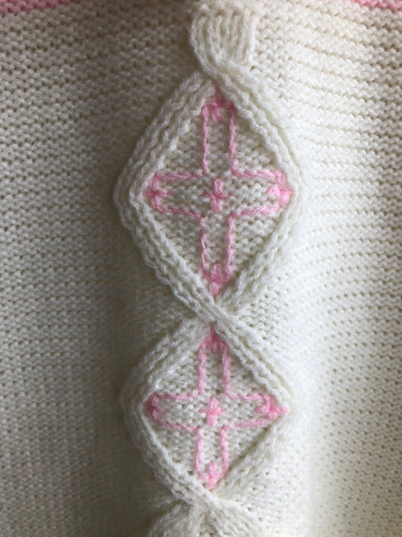 80s Vintage Surfer Chick Pink  White Acrylic Knitted Waist Hoodie Womens Large