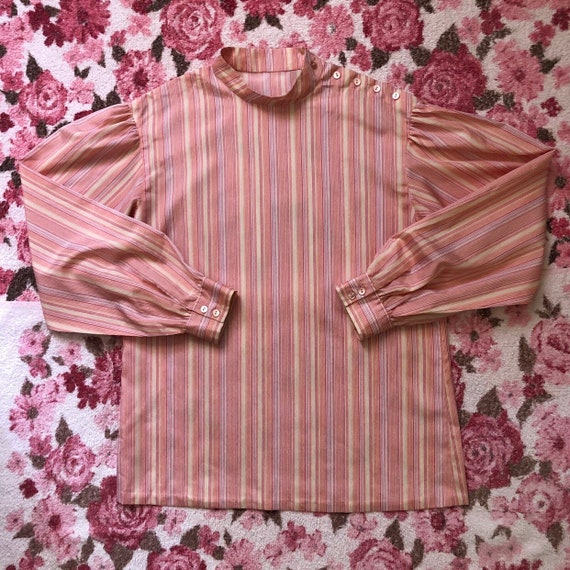 80s Vintage Mockneck Pinstripe Pink/Orange/Yellow