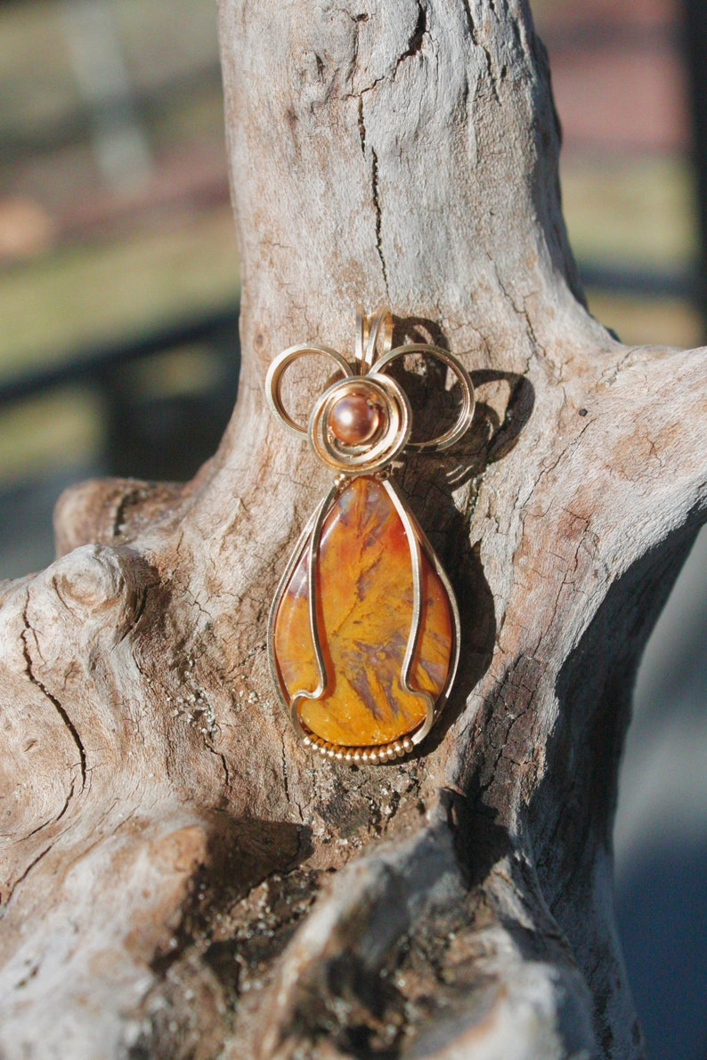 Mexican Sagenite Agate Wire Wrapped Pendant