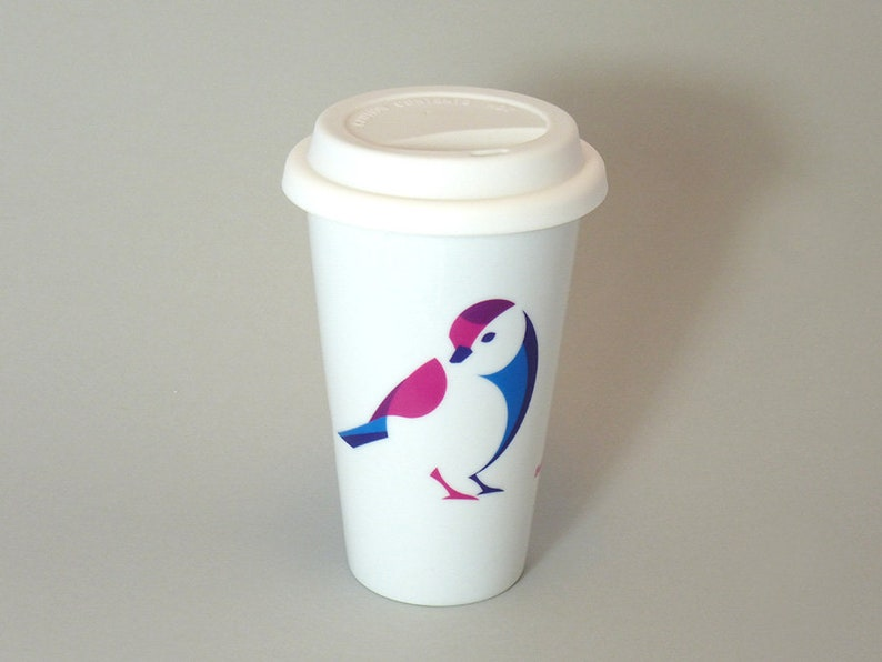 Thermal cup Blueberry Tit Piepmatz in red-blue image 0