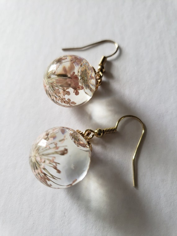 Mother/'s Day Gift Mom/'s gift Girlfriend Gift, Gift Spring Gold Long Earrings with Floating Glass Beads
