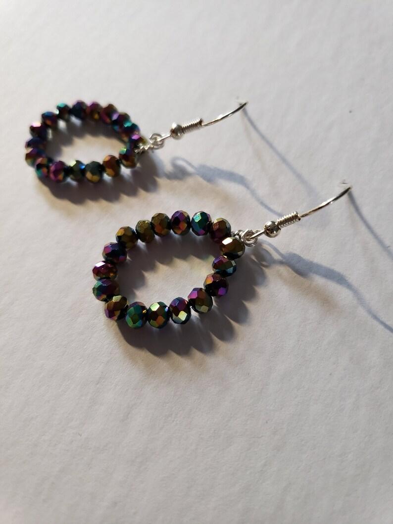 Rainbow Chain Earrings Handmade by The Qurky Cute Boutique Rainbow Hoops Hoop Earrings