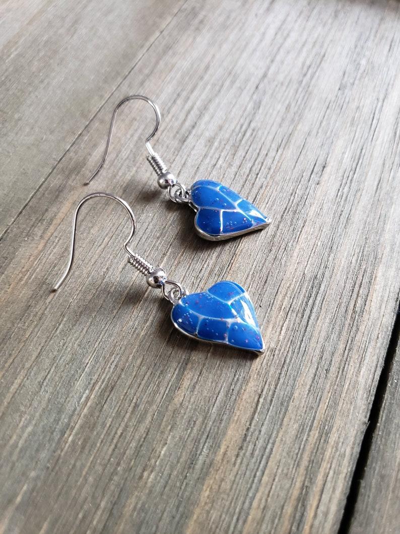 Blue Earrings Blue Charm Earrings Handmade Earrings Resin Earrings Resin Jewelry Blue Blue Resin Heart Earrings Silver Earrings