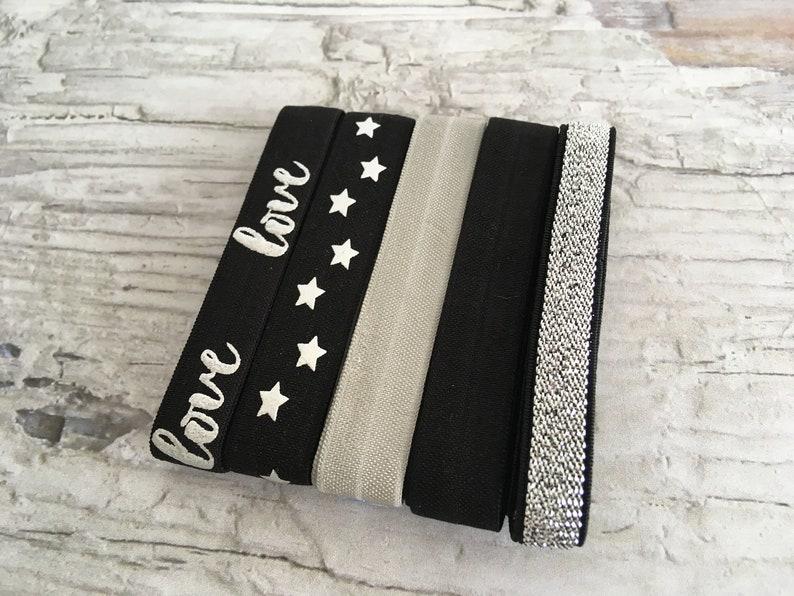 DIY 5x1meter rubber band Haargummis Love stars glitter black and silver