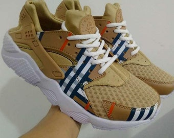 949e9cf72577 Nike Huarache Custom Sneakers Brown Burberry Inspired Hand Painted  Embroidered Shoes Gucci Louis Vuitton Supreme Bape Champion
