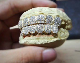 CUSTOM GRILLZ with CZ lab diamond prongset ice out block Silver Top or  Bottom by Grillzstation f653fe6443