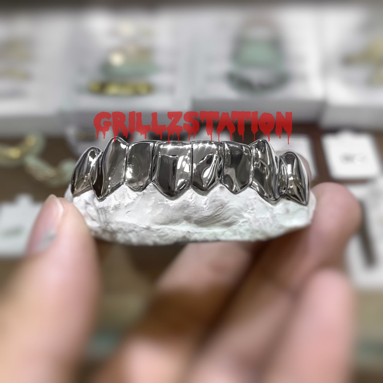 Custom Grillz / Permanent cut / Deep cut style ( 925 silver