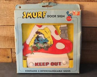 Vintage Smurf Interchangeable Door Sign