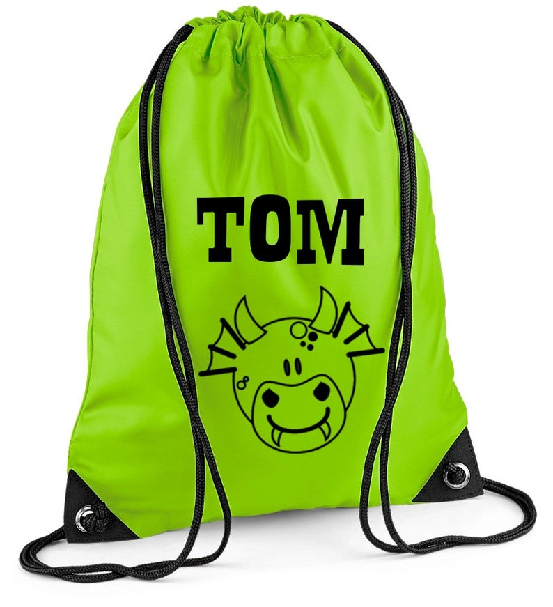 c9cdae93ca6a Sports bag with name for children motif Dragon