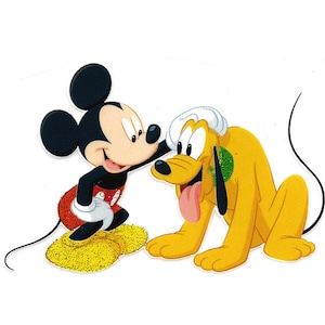 "3X3/"" Mickey Mouse Head glitter ears IRON ON TRANSFER Decor Heat Transfer Vinyl"