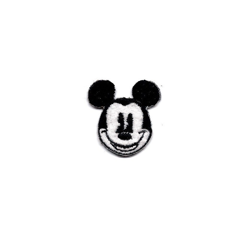 "1.25X1.25/"" Company D Black White Mickey Mouse Ears Head IRON ON SEW ON PATCH"