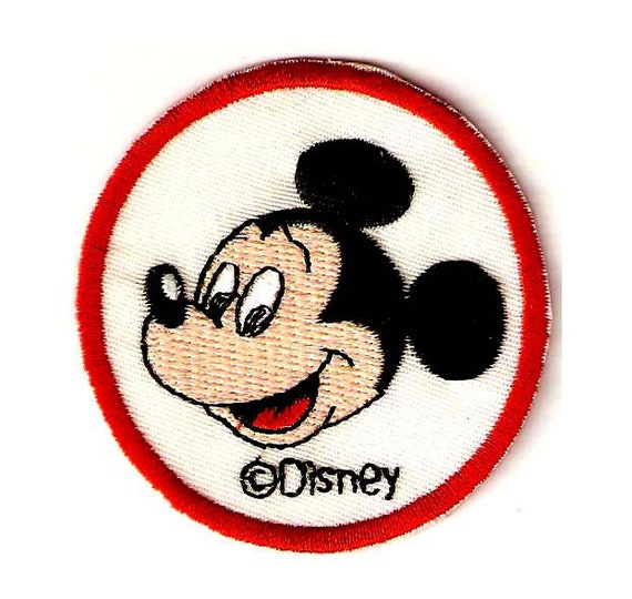Mickey Mouse Disney HUG Sew On Round Applique// Patches 2 inches white//red//black