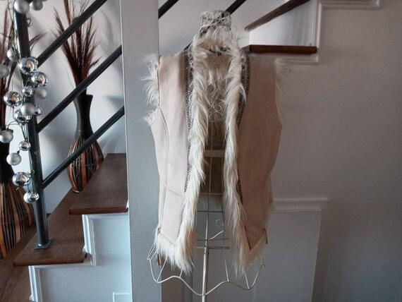 Vintage women's jacket coat sleeveless coat faux f