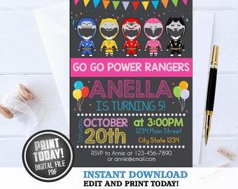 Power Rangers Invitation BirthdayPower Birthday InvitationPower PartyPower Party