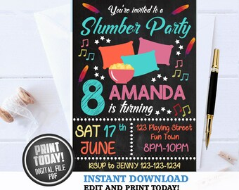 slumber party invite etsy